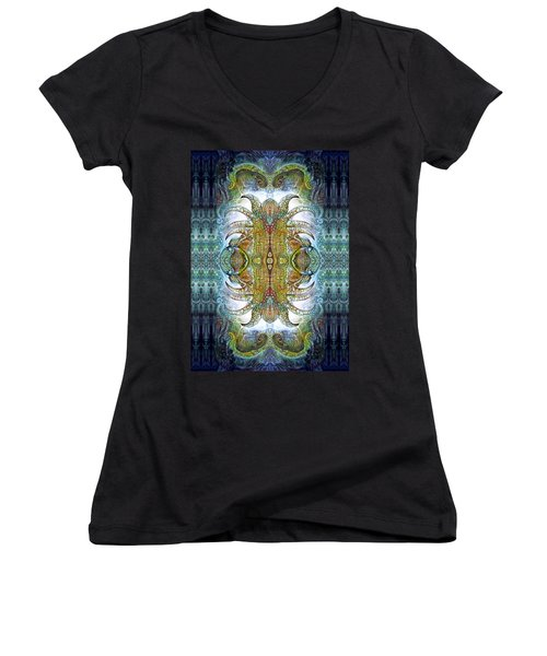 Women's V-Neck T-Shirt (Junior Cut) featuring the digital art Bogomil Variation 14 - Otto Rapp And Michael Wolik by Otto Rapp