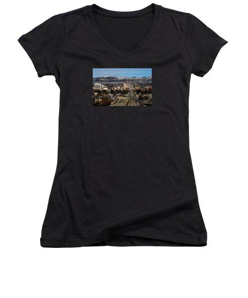 Boise Idaho Women's V-Neck T-Shirt (Junior Cut) by Robert Bales