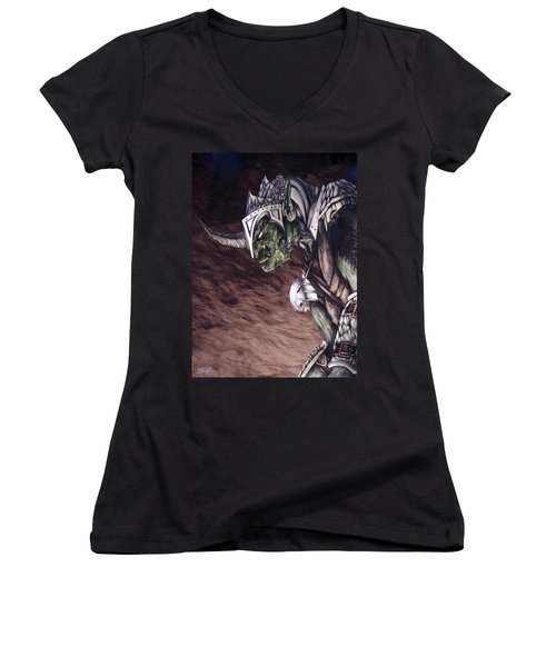Women's V-Neck T-Shirt (Junior Cut) featuring the mixed media Bolg The Goblin King 2 by Curtiss Shaffer