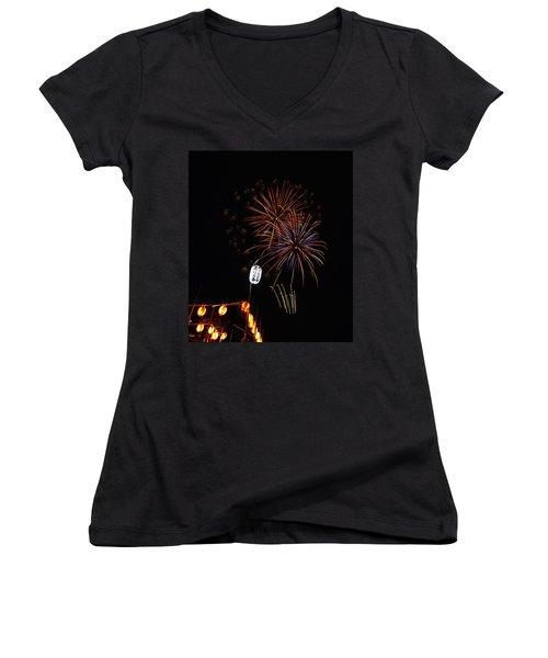 Bon Adori Glow Women's V-Neck T-Shirt (Junior Cut) by John Swartz