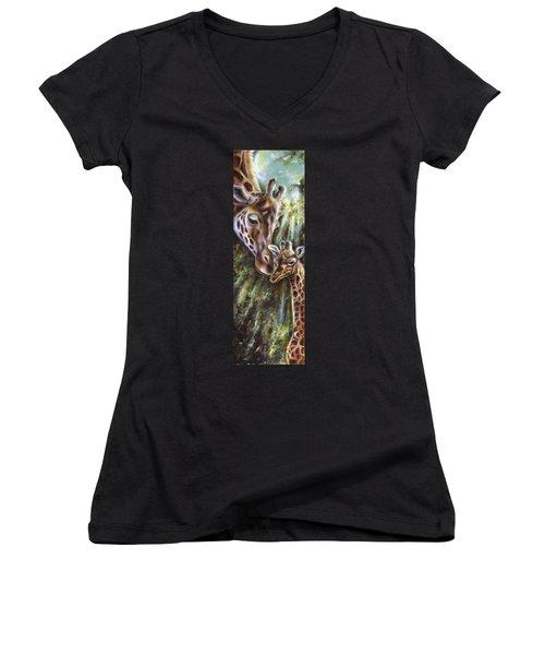 Women's V-Neck T-Shirt (Junior Cut) featuring the painting Bond by Hiroko Sakai