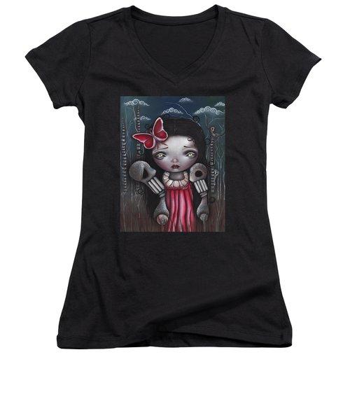 Bones Butterflies And Dreams Women's V-Neck T-Shirt