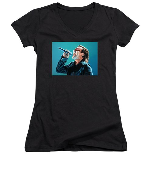 Bono Of U2 Painting Women's V-Neck T-Shirt (Junior Cut) by Paul Meijering
