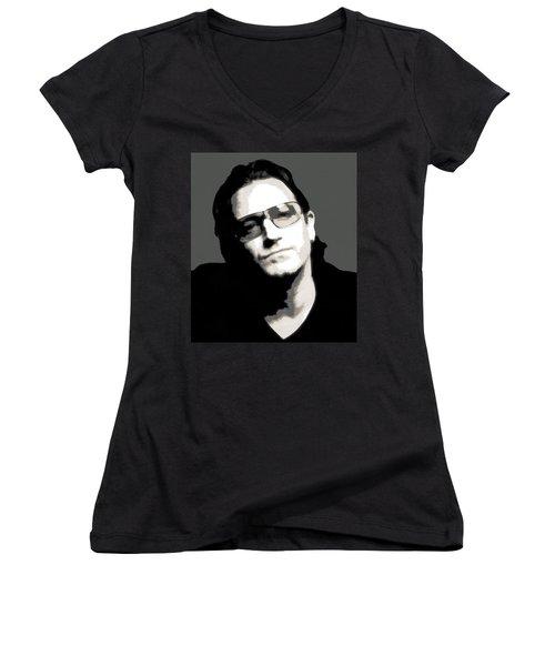 Bono Poster Women's V-Neck T-Shirt (Junior Cut) by Dan Sproul