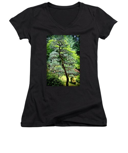 Bonsai Tree Women's V-Neck T-Shirt (Junior Cut) by Athena Mckinzie