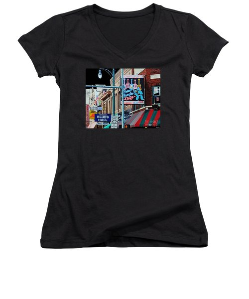Boogie On Beale St Memphis Tn Women's V-Neck (Athletic Fit)