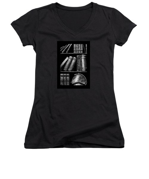 Books On Shelves Women's V-Neck (Athletic Fit)