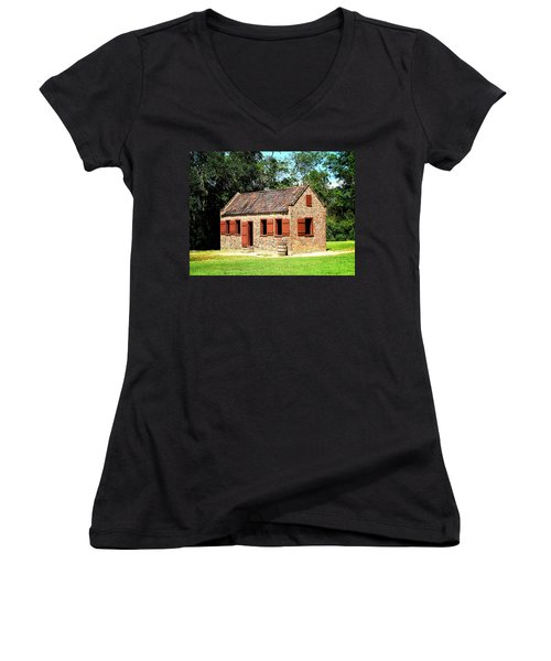 Boone Hall Plantation Slave Quarters Women's V-Neck T-Shirt (Junior Cut) by Greg Simmons