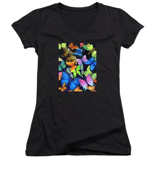 Born Again Women's V-Neck T-Shirt (Junior Cut) by Nancy Cupp