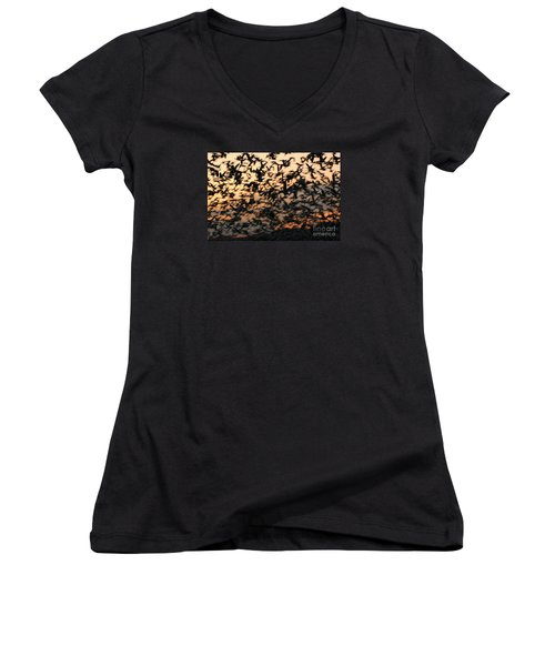 Women's V-Neck T-Shirt (Junior Cut) featuring the photograph Bosque Sunrise Blastoff by John F Tsumas