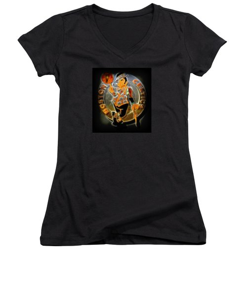 Boston Celtics Logo Women's V-Neck T-Shirt (Junior Cut)