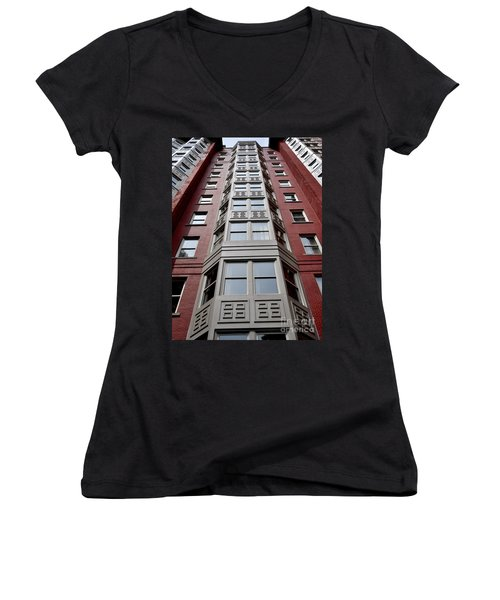 Boston Skyscraper Women's V-Neck (Athletic Fit)