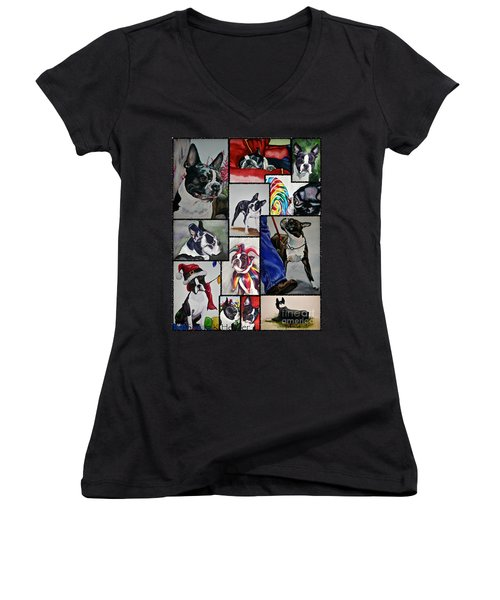 Boston Terrier Watercolor Collage Women's V-Neck T-Shirt