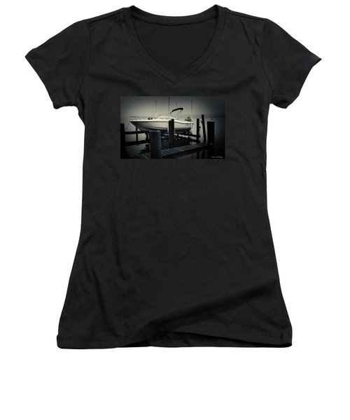 Boston Whaler In The Fog Women's V-Neck T-Shirt