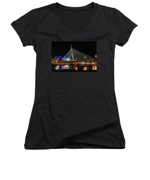 Women's V-Neck T-Shirt (Junior Cut) featuring the photograph Boston's Zakim-bunker Hill Bridge by Mitchell R Grosky