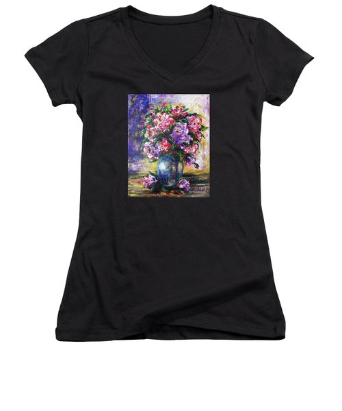Women's V-Neck T-Shirt (Junior Cut) featuring the painting Bouquet Of Scents by Vesna Martinjak