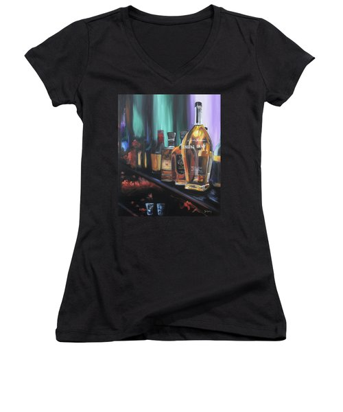 Bourbon Bar Oil Painting Women's V-Neck T-Shirt