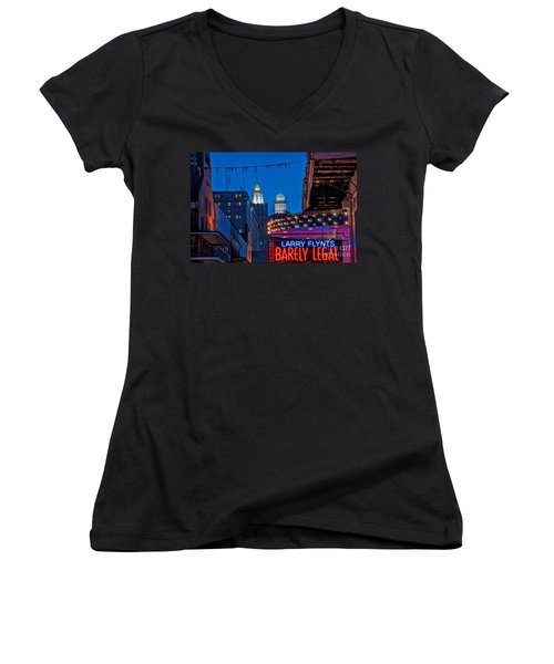 Bourbon Street And Cbd Lights  Women's V-Neck T-Shirt (Junior Cut) by Kathleen K Parker