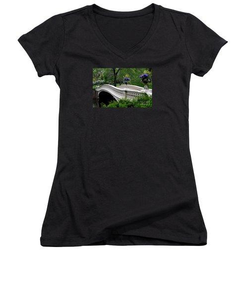 Bow Bridge Flower Pots - Central Park N Y C Women's V-Neck T-Shirt (Junior Cut) by Christiane Schulze Art And Photography