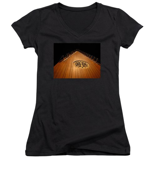 Bowed Psaltery Women's V-Neck (Athletic Fit)