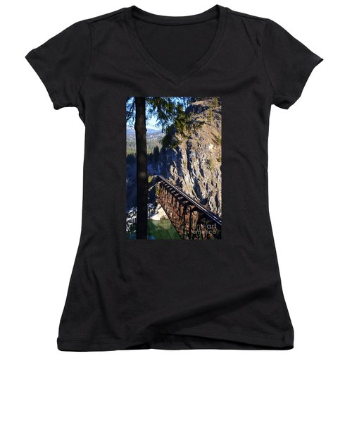 Box Canyon Dam Railroad Crossing Women's V-Neck (Athletic Fit)