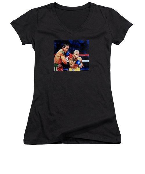Boxing Women's V-Neck T-Shirt (Junior Cut) by Raymond Perez