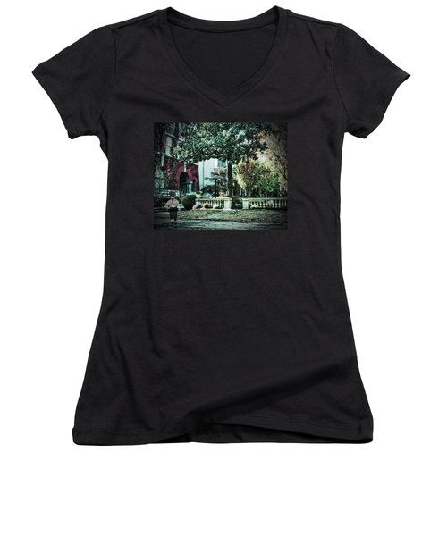 Boy Lost In Time Women's V-Neck (Athletic Fit)