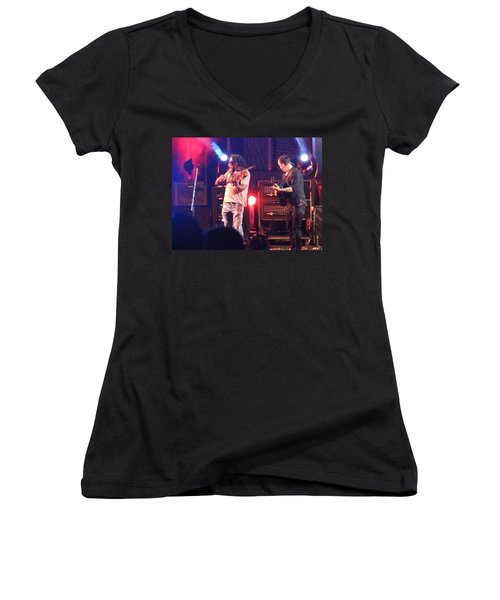 Women's V-Neck T-Shirt (Junior Cut) featuring the photograph Boyd And Dave by Aaron Martens