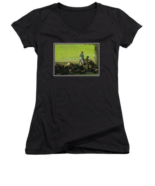 Women's V-Neck T-Shirt (Junior Cut) featuring the photograph Boys Will Be Boys by Kathy Barney