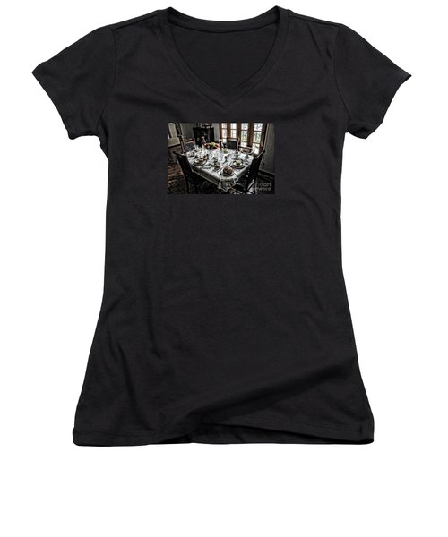 Downton Abbey Breakfast Women's V-Neck T-Shirt (Junior Cut) by The Art of Alice Terrill