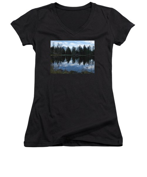 Brewster Lake North Bend Wa Women's V-Neck T-Shirt