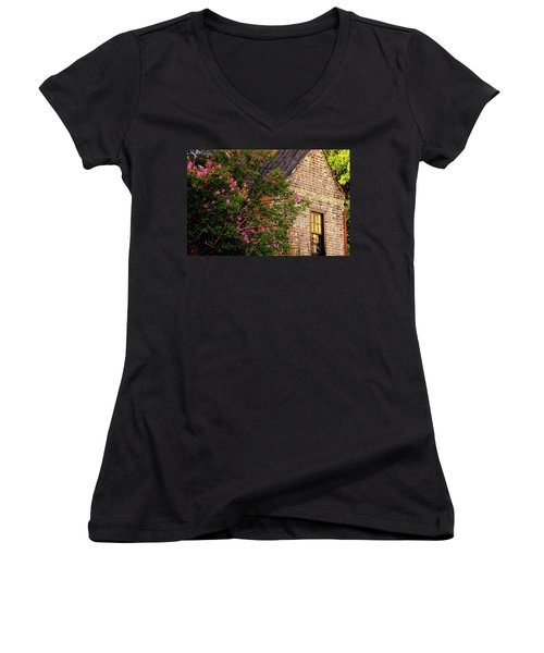 Women's V-Neck T-Shirt (Junior Cut) featuring the photograph Brick And Myrtle by Rodney Lee Williams