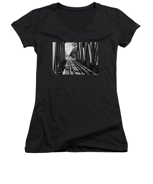Bridge In Black And White Women's V-Neck (Athletic Fit)