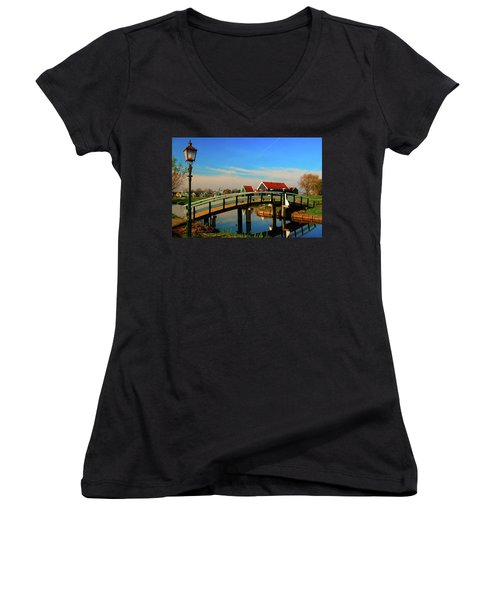 Women's V-Neck T-Shirt (Junior Cut) featuring the photograph Bridge Over Calm Waters by Jonah  Anderson