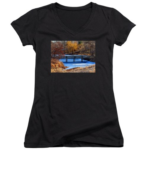 Women's V-Neck T-Shirt (Junior Cut) featuring the photograph Bridge Over Icy Waters by Elizabeth Winter