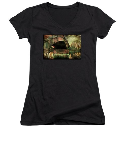 Bridge Over The Canal Women's V-Neck