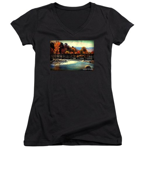 Bridge Over The Truckee River Women's V-Neck T-Shirt (Junior Cut) by Bobbee Rickard