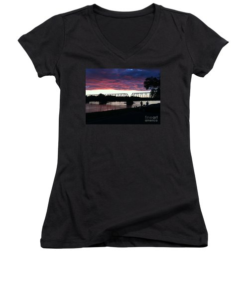 Bridge Sunset In June Women's V-Neck (Athletic Fit)