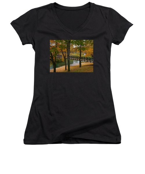 Women's V-Neck T-Shirt (Junior Cut) featuring the photograph Bridge To Fall by Elizabeth Winter