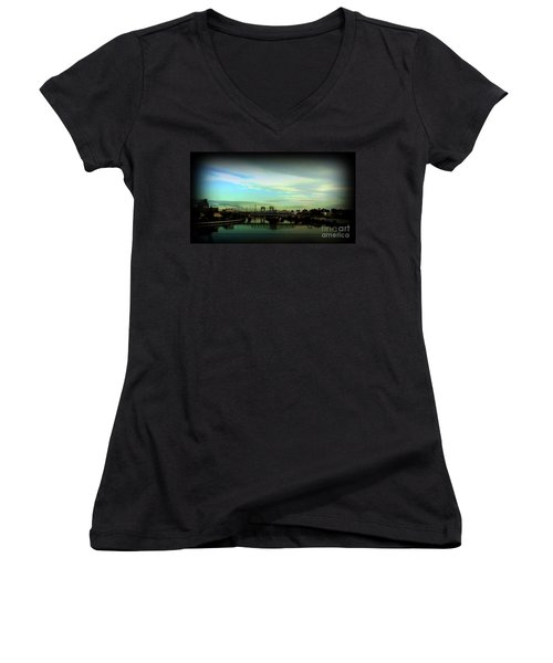 Women's V-Neck T-Shirt (Junior Cut) featuring the photograph Bridge With White Clouds Vignette by Miriam Danar