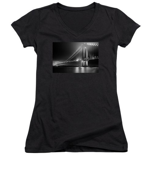 Bridging Verrazano Narrows Women's V-Neck T-Shirt