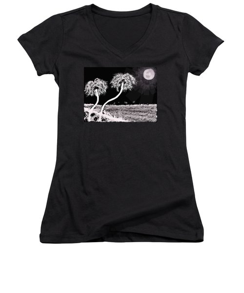 Bright Night In The Tropics Women's V-Neck T-Shirt (Junior Cut) by Renee Michelle Wenker