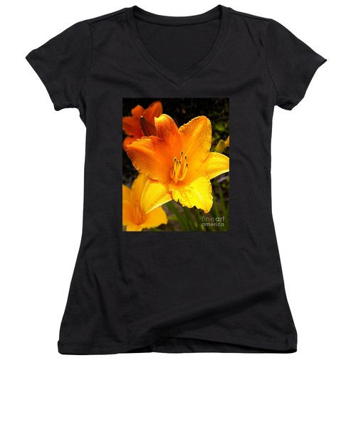 Bright Yellow Daylily Flower Women's V-Neck (Athletic Fit)