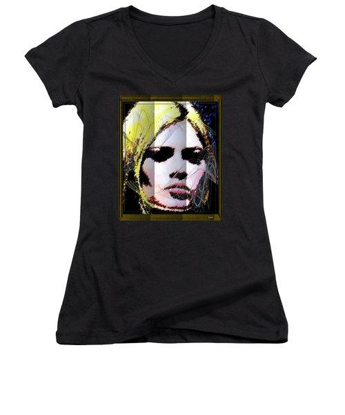 Women's V-Neck T-Shirt (Junior Cut) featuring the digital art Brigitte Bardot by Daniel Janda