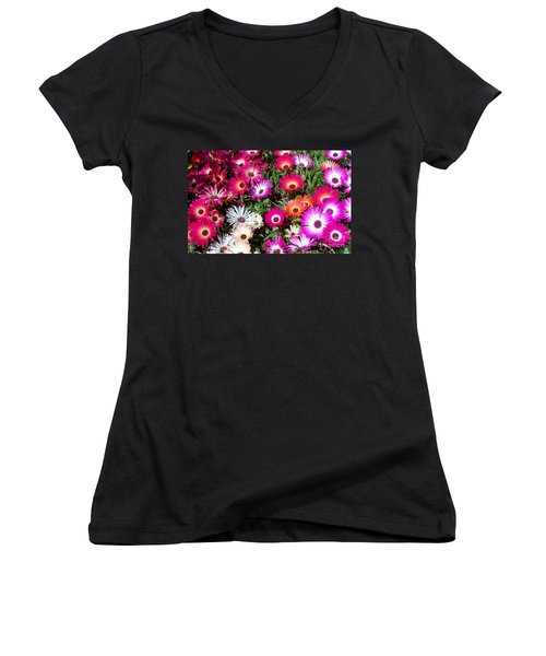 Women's V-Neck T-Shirt (Junior Cut) featuring the photograph Brilliant Flowers by Chalet Roome-Rigdon