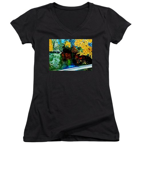 Women's V-Neck T-Shirt (Junior Cut) featuring the painting Brilliant Mountain Colors In Reflection by Lil Taylor
