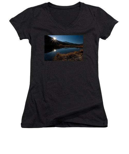 Brilliant Sunrise Women's V-Neck T-Shirt (Junior Cut) by Steven Reed