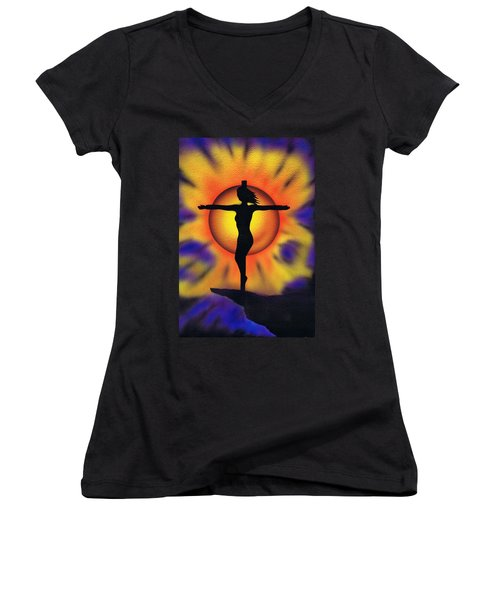 Women's V-Neck T-Shirt (Junior Cut) featuring the painting Bring Me Back To Life. by Kenneth Clarke
