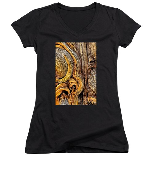 Women's V-Neck T-Shirt (Junior Cut) featuring the photograph Bristlecone Pine Bark Detail White Mountains Ca by Dave Welling