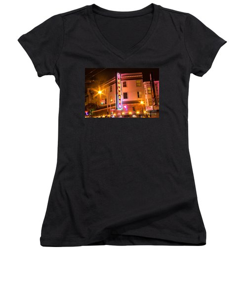 Women's V-Neck T-Shirt (Junior Cut) featuring the photograph Broadway At Night by Suzanne Luft